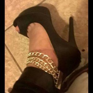 Black gold chain stiletto heels